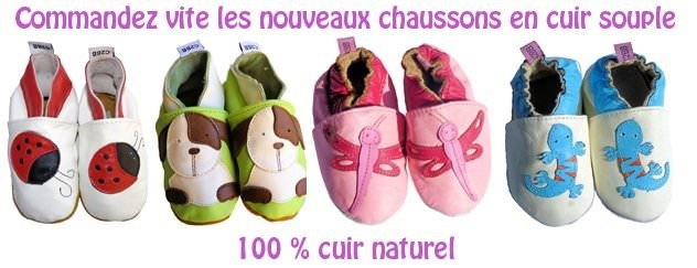 chaussons cuir bebe